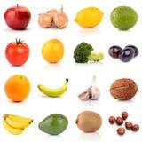 Ensemble de fruits et légumes d'isolement sur le blanc Images stock
