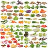 Ensemble de fruits et légumes sur le fond blanc Image libre de droits