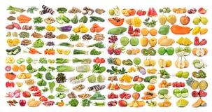 Ensemble de fruits et légumes sur le fond blanc Image stock