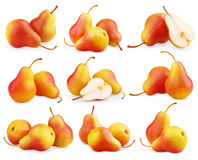 Ensemble de fruits rouge-jaunes de poire Photographie stock libre de droits