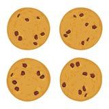 Ensemble de gâteau aux pépites de chocolat, fraîchement cuit au four quatre biscuits d'isolement sur le fond blanc Couleurs lumin illustration stock