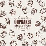 Ensemble de gâteaux Images stock