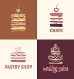 Ensemble de gâteaux de logos de vecteur de modèles Photographie stock libre de droits