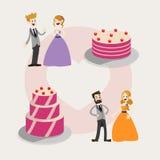 Ensemble de gâteaux de mariage Images libres de droits