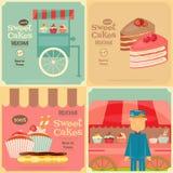 Ensemble de gâteaux Mini Posters Images stock