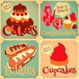 Ensemble de gâteaux Mini Posters Photo stock