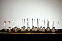 Ensemble de gagnant clair de récompense de trophée de verre cristal Photographie stock libre de droits