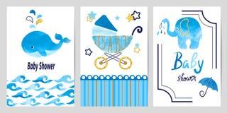 Ensemble de garçon de fête de naissance Cartes d'invitation de vecteur illustration libre de droits