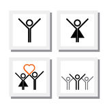 Ensemble de garçon enthousiaste et vif de fille dans des icônes de vecteur d'amour Image libre de droits