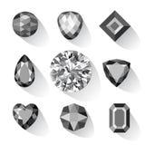 Ensemble de gemmes à fond gris et noires Photo stock