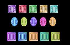 Ensemble de gemmes colorées d'isolement sur le fond blanc Photos libres de droits