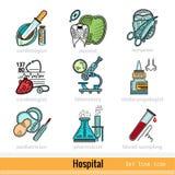 Ensemble de genre de couleur de médecins Outline Web Icons Photo libre de droits