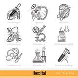 Ensemble de genre de médecins Outline Web Icons Images stock