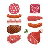 Ensemble de genre différent de saucisses et de viandes Photographie stock libre de droits