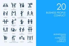 Ensemble de gens d'affaires BLEUS d'icônes de conflit de bibliothèque de HAMSTER illustration stock