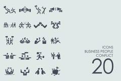 Ensemble de gens d'affaires d'icônes de conflit illustration libre de droits