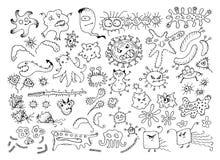 Ensemble de germes de bactéries de griffonnage de vecteur ou de monstres de bande dessinée Collection tirée par la main de virus  Photographie stock libre de droits