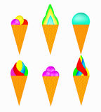 Ensemble de glace multicolore Photographie stock
