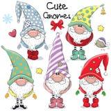 Ensemble de gnomes mignons de bande dessinée illustration de vecteur