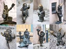 Ensemble de gnomes sur les rues de Wroclaw, Pologne Images stock