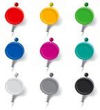Ensemble de goupilles sous forme de drapeaux multicolores Images libres de droits