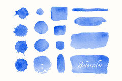 Ensemble de gouttes bleues et de taches d'aquarelle Photos stock