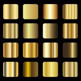 Ensemble de gradation de texture de feuille d'or Vecteur Images libres de droits