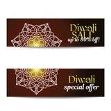 Ensemble de grandes bannières de vente de Diwali Festival des lumières indien Image libre de droits