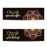 Ensemble de grandes bannières de vente de Diwali Festival des lumières indien Image stock