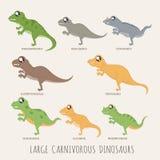 Ensemble de grands dinosaures carnivores illustration de vecteur