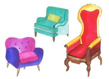 Ensemble de graphique de chaises tir?es par la main d'accent Styles de conception de chaise d'accent Couleurs de cru, dessin d'en illustration de vecteur