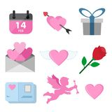 Ensemble de graphique d'illustration de Valentine Day Related Symbols Vector illustration libre de droits