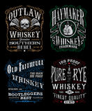 Ensemble de graphique de T-shirt de label de whiskey de vintage Photos stock