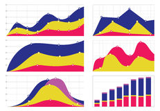 Ensemble de graphiques et de diagrammes plats avec une grille Image stock