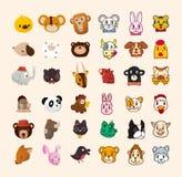 Ensemble de graphisme animal mignon de visage Photo stock