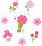 Ensemble de graphismes avec des fleurs. Images stock