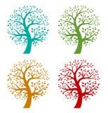 Ensemble de graphismes colorés d'arbre de saison illustration libre de droits