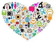 Ensemble de graphismes dans la forme de coeur illustration de vecteur
