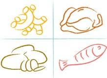 Ensemble de graphismes de nourriture Images libres de droits