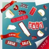 Ensemble de graphismes de vente, étiquettes, collants. illustration stock