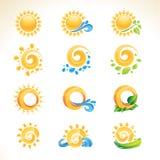 Ensemble de graphismes du soleil Images stock