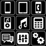 Ensemble de graphismes (l'électronique, téléphones, joueurs) Image stock