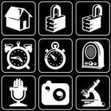 Ensemble de graphismes (sécurité, temps, dispositifs, électronique) illustration libre de droits