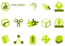 Ensemble de graphismes verts mélangés Images stock