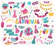 Ensemble de griffonnage de carnaval Photographie stock libre de droits