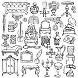 Ensemble de griffonnage d'antiquités illustration libre de droits