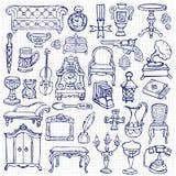 Ensemble de griffonnage d'antiquités illustration stock