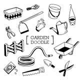 Ensemble de griffonnage d'articles de jardin Photo stock
