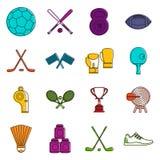 Ensemble de griffonnage d'icônes d'équipement de sport Images libres de droits