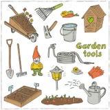 Ensemble de griffonnage d'outils de jardin Divers équipements d'équipement pour le jardinage et l'agriculture Image stock